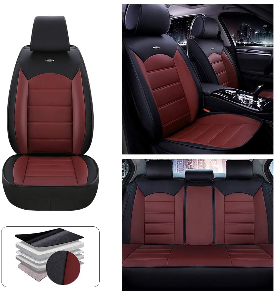 Fit for Dodge Magnum 5-Seats Car Seat Cover Protector with Waterproof PU Leather Easy to Install - Not with Headrest and Lumbar Cushion (Red-Black)