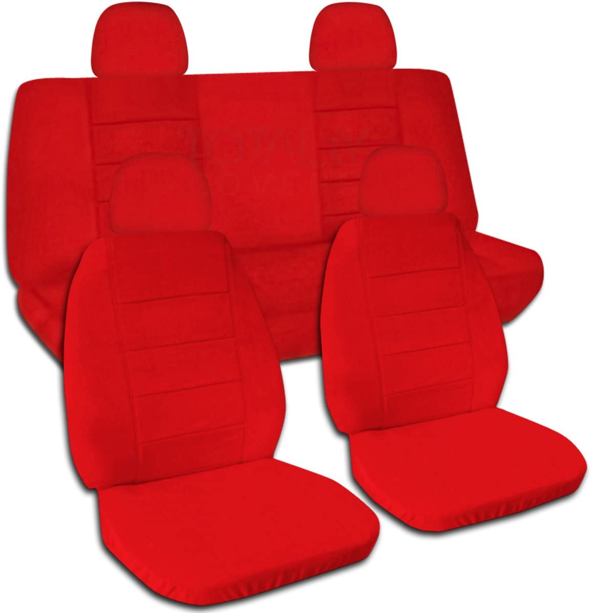 Totally Covers Solid Color Car Seat Covers w 4 (2 Front + 2 Rear) Headrest Covers: Red - Universal Fit - Full Set - Buckets & Bench - Option for Airbag/Seat Belt/Armrest/Lever/Split Compatible