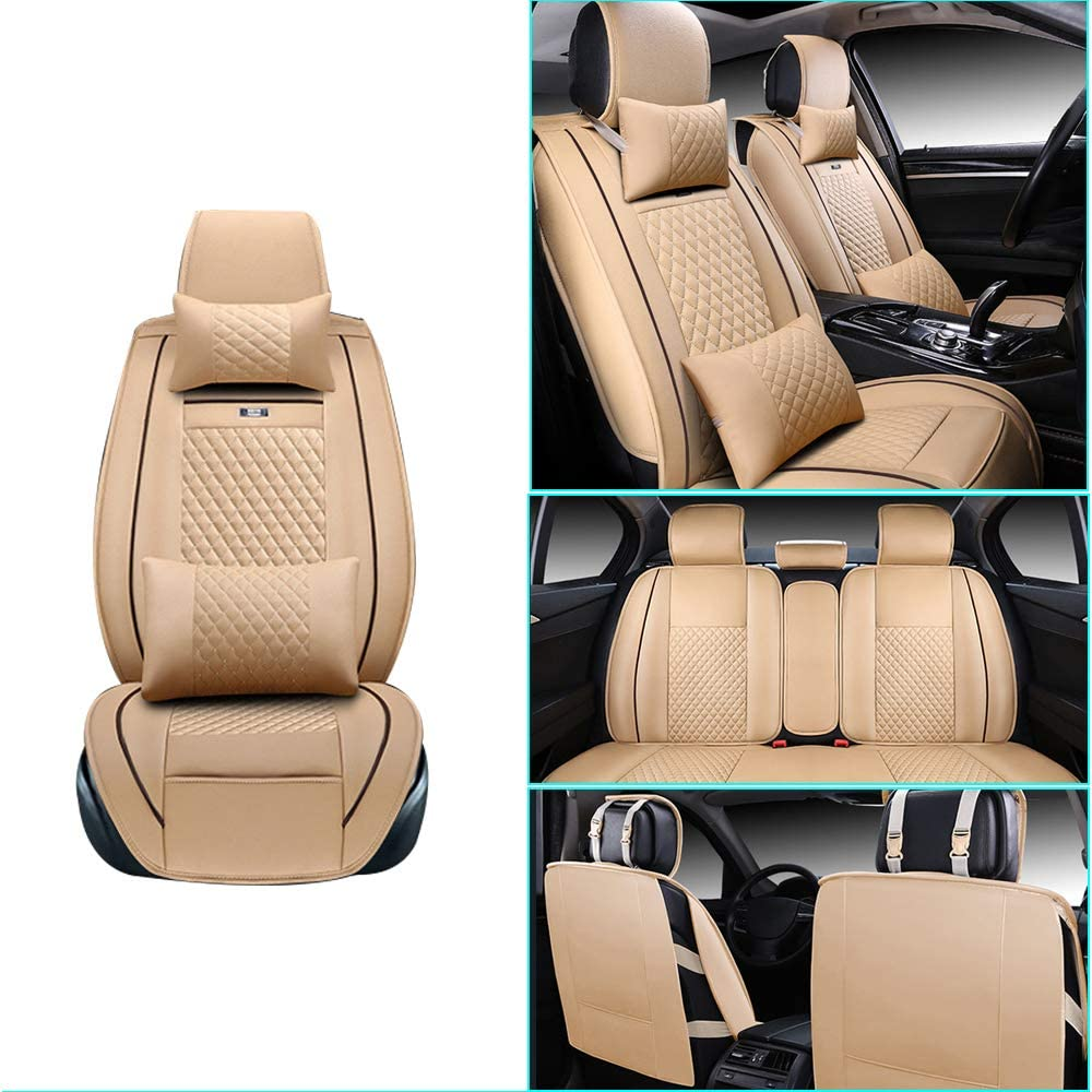 Car Seat Cover for Car Seat Cover for Suzuki Vitara Front+Rear Seats Protector Covers Waterproof Soft PU Leather Cushion 5-Seater Car Pad Rhombus Beige 9PCS