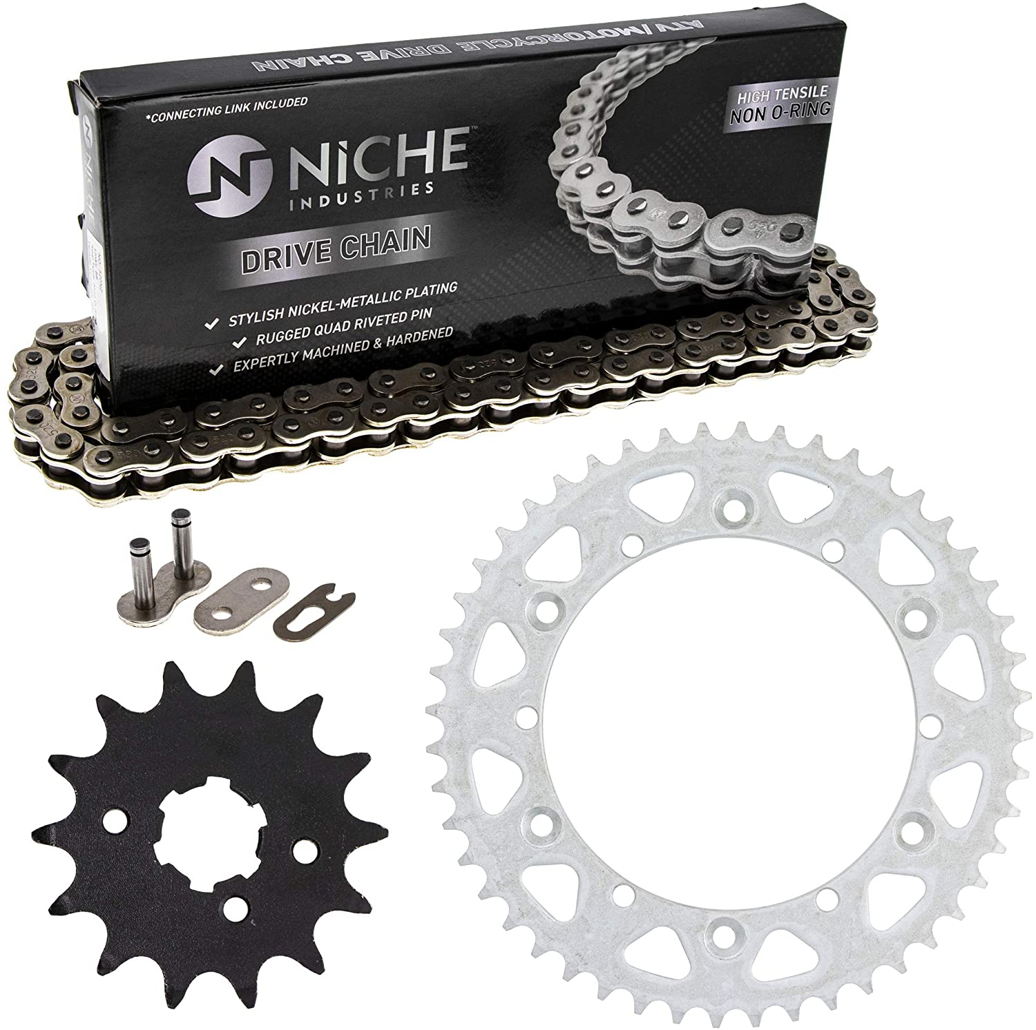 NICHE Drive Sprocket Chain Combo for Yamaha YZ250 Front 14 Rear 48 Tooth 520NZ Standard 110 Links