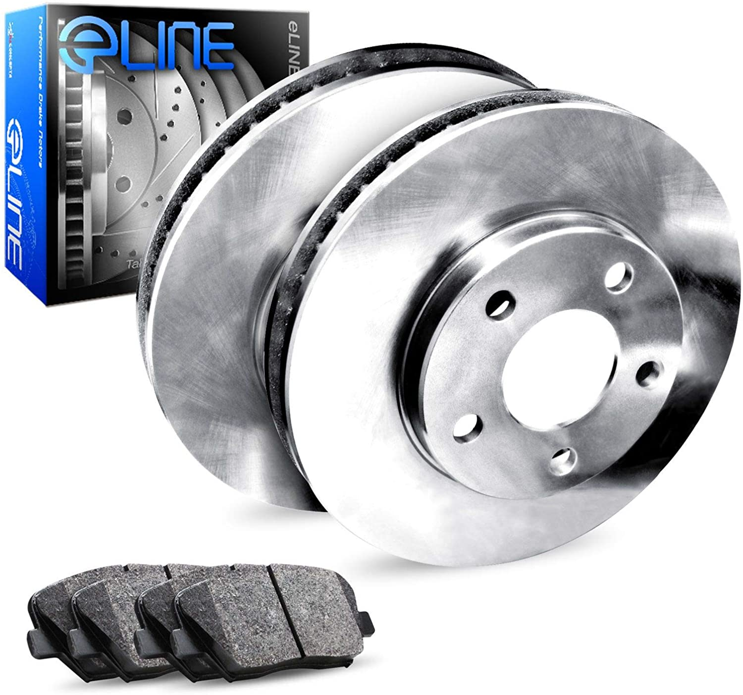For Ford, Lincoln Crown Victoria, Town Car R1 Concepts eLine Rear Blank Brake Rotors Kit + Ceramic Pads