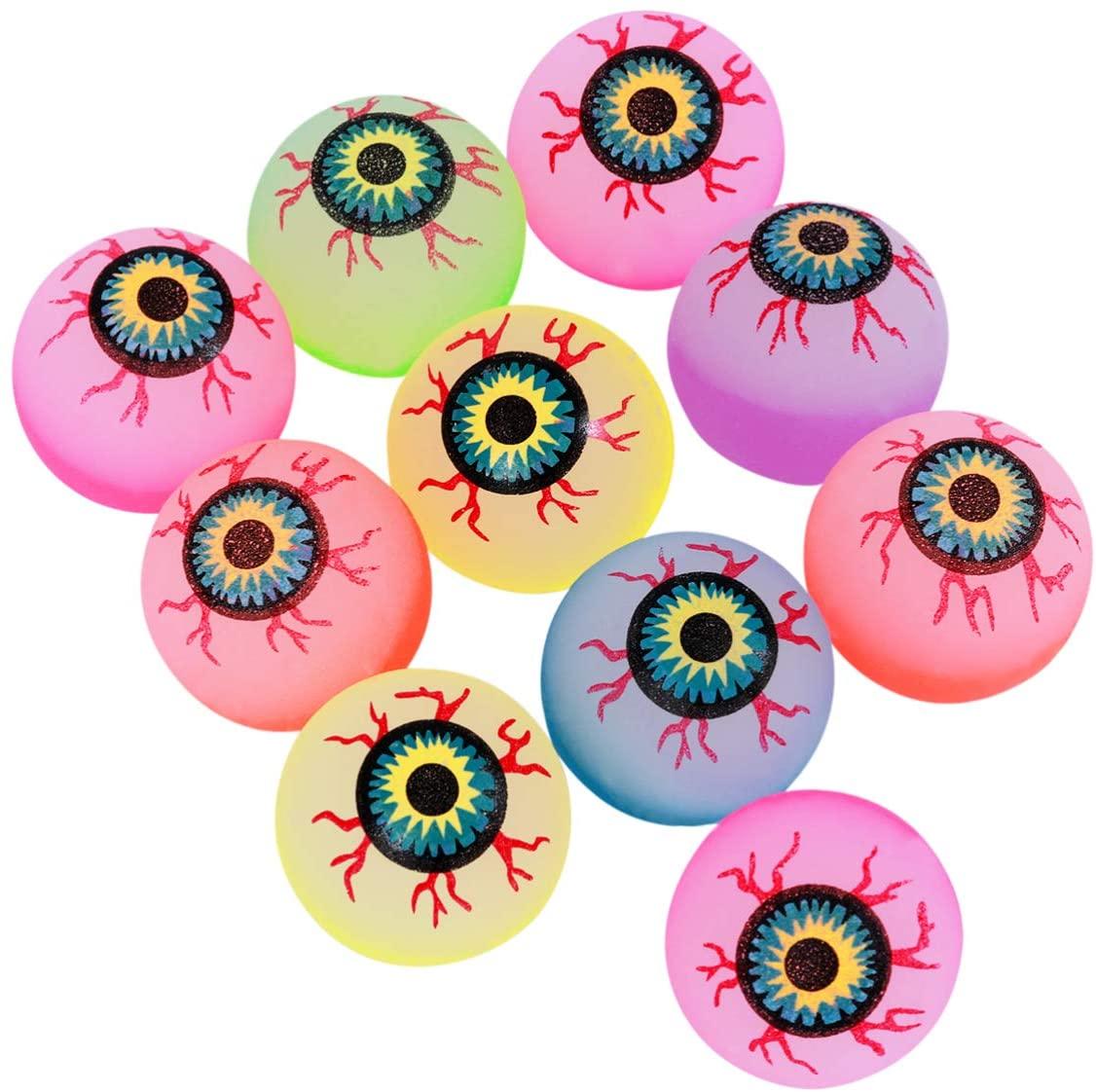 NUOBESTY 10Pcs Halloween Fake Eyeballs Bouncing Eyeball Glow in The Dark Terror Props for Halloween Treats Masks Skulls Party Supplies 32mm Mixed Color