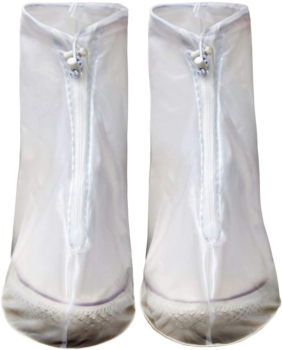 Rain Shoe Covers Waterproof Boot Cover Overshoes Non-Slip Rubber Soles for Women and Men White M