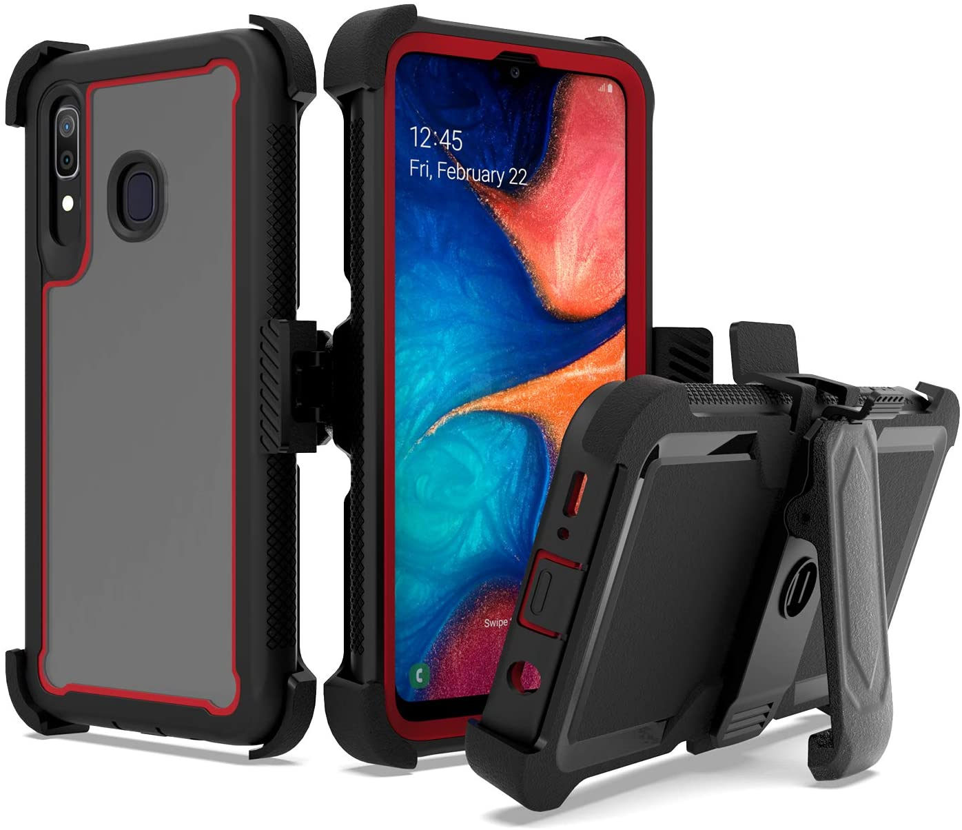 UNC Pro 3 in 1 Cell Phone Case for Samsung Galaxy A20 / A30 / A50, 360 Degrees Rotating Kickstand Belt Clip Holster Hybrid Case, Heavy Duty Shockproof Bumper Anti-Scratch, Black/Red
