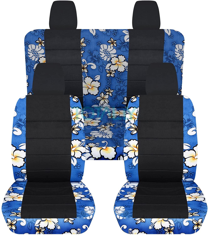Totally Covers Compatible with 2011-2018 Jeep Wrangler JK Hawaiian & Black Seat Covers: Blue - Full Set: Front & Rear (4 Prints) 2-Door/4-Door Complete Back Solid/Split Bench