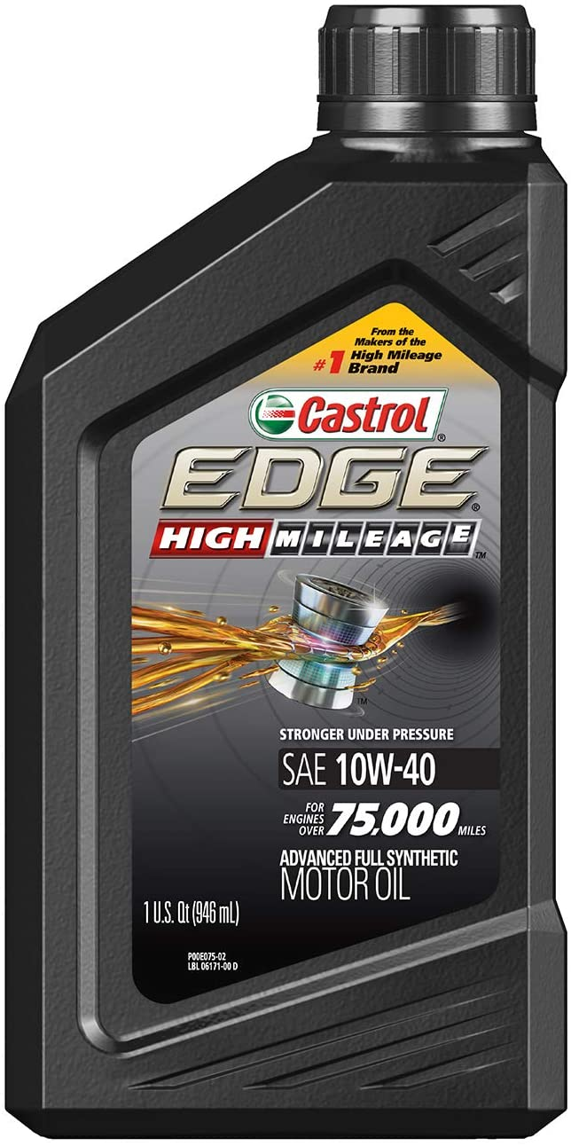 Castrol 06171 EDGE High Mileage 10W-40 Advanced Full Synthetic Motor Oil, 1 Quart, 6 Pack