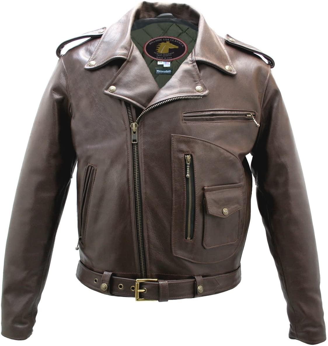 Brown D Pocket Horsehide Motorcycle Jacket (46)