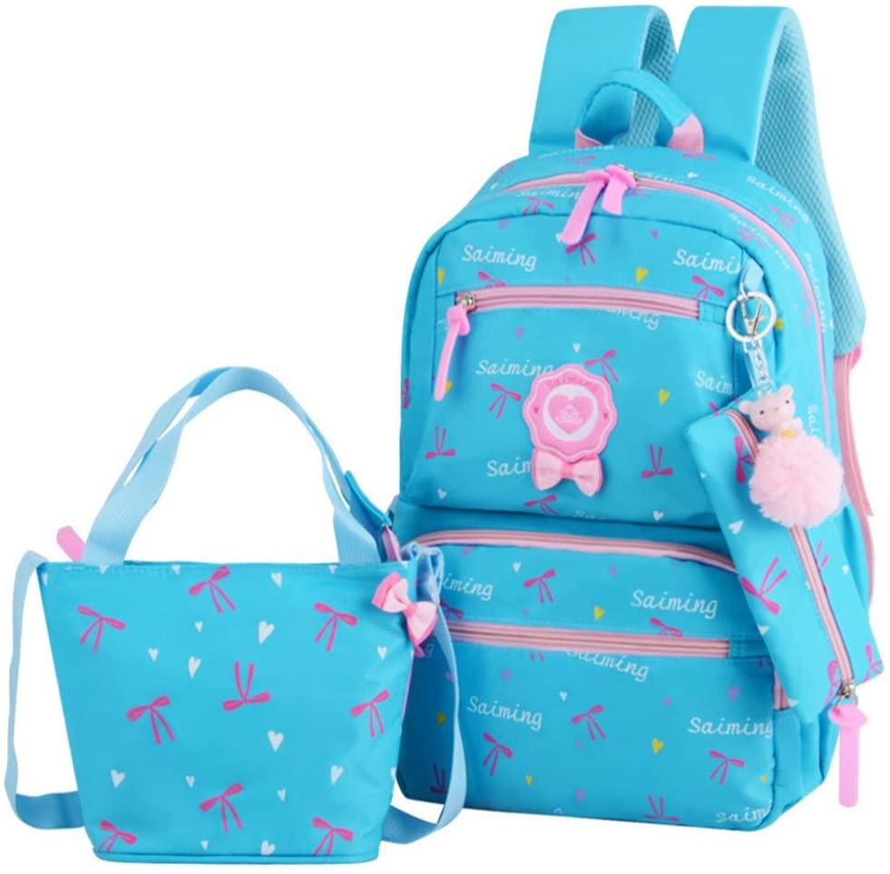 VIDOSCLA 3Pcs Heart Printing Backpack Sets Bowknot Primary Schoolbag Travel Daypack Shoulder Bag Girls Rucksack knapsack with Luch box Pencil case