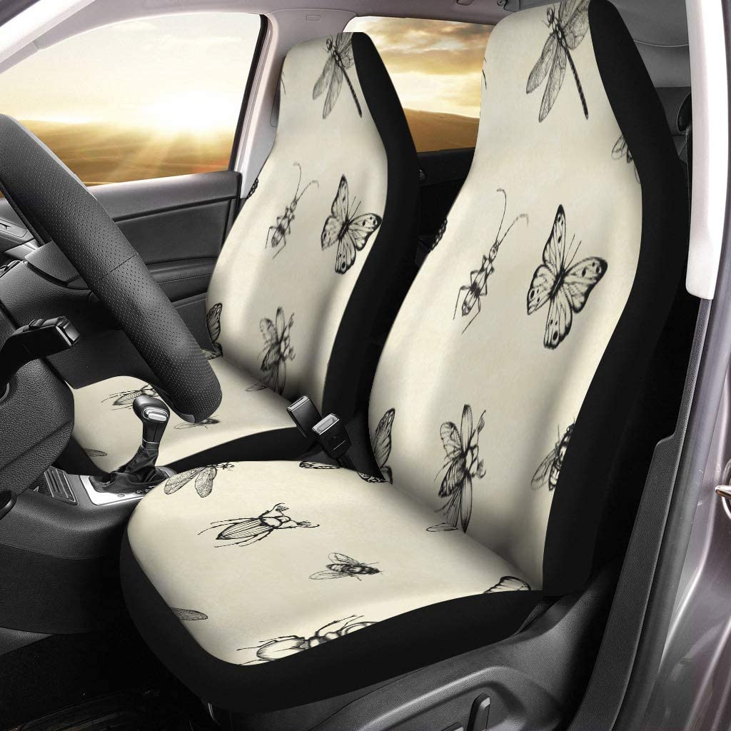 Semtomn Car Seat Covers Abstract Dragonfly Beetle Stag Spider Butterfly Fly Animal Charcoal Set of 2 Auto Accessories Protectors Car Decor Universal Fit for Car Truck SUV