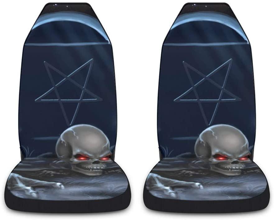 CUXWEOT Human Skull Tomb Car Seat Covers for Front Set of 2 Vehicle Seat Protector Car Pet Mat Fit Most Car,Truck,SUV,Van