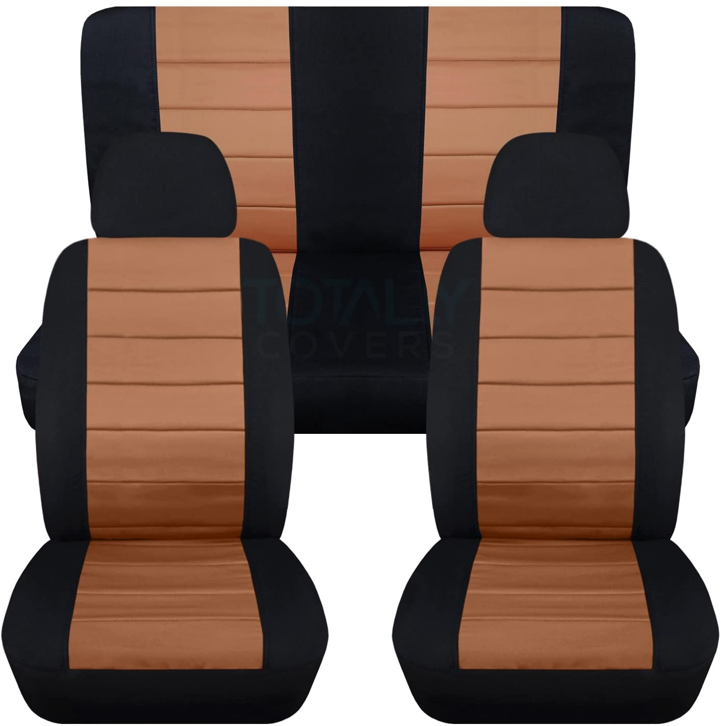 Totally Covers 2-Tone Car Seat Covers w 2 Front Headrest Covers: Black and Tan - Semi-Custom Fit - Full Set - Will Make Fit Any Car/Truck/Van/RV/SUV (22 Colors)
