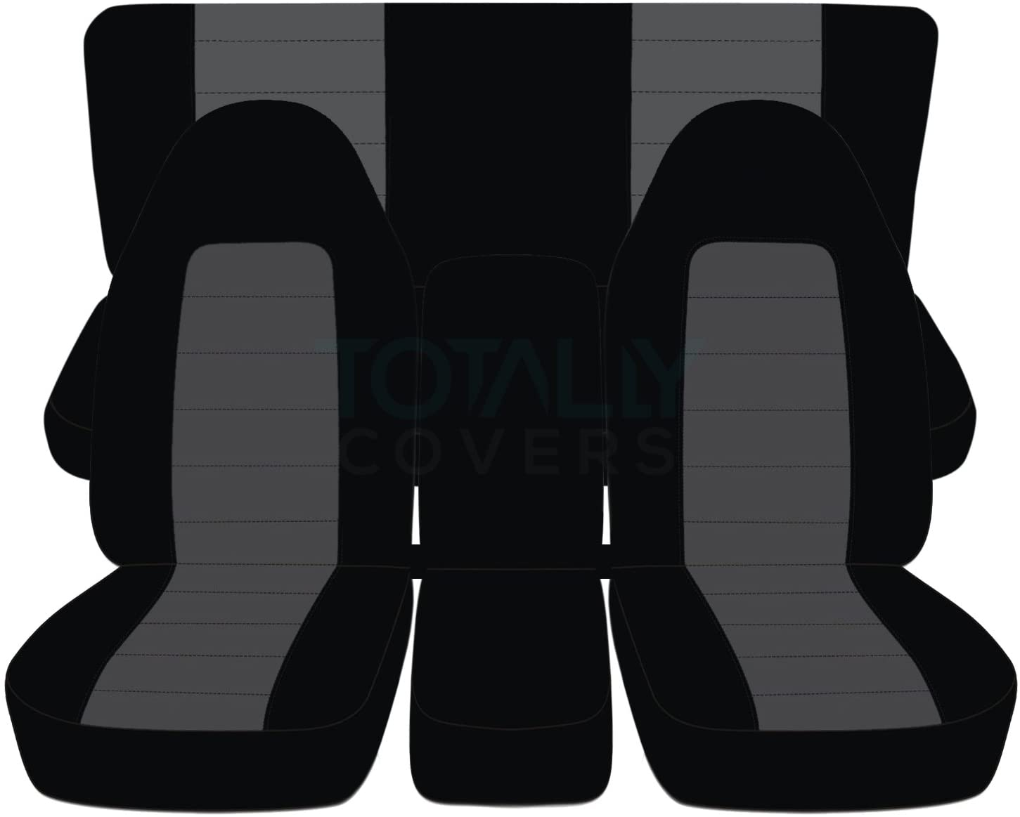 Totally Covers Compatible with 1994-2002 (2nd Gen) Dodge Ram Two-Tone Truck Seat Covers (40/20/40 Split Front Bench & Solid Rear) w Center Console - Full Set: Black & Charcoal
