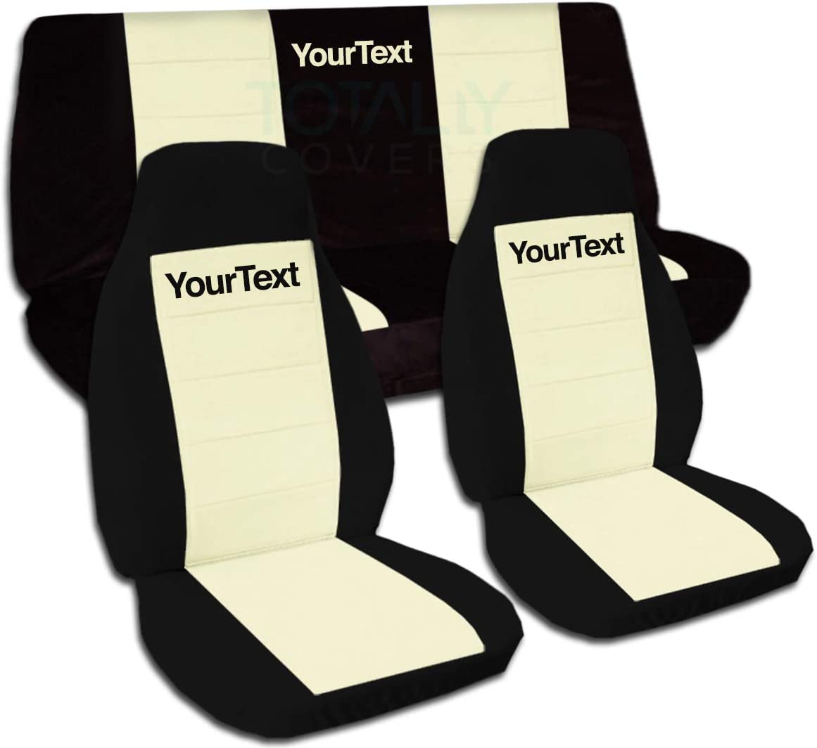 Totally Covers Compatible with 1997-2006 Jeep Wrangler TJ Two-Tone Seat Covers w Your Name/Text: Black & Cream - Full Set: Front & Rear (21 Colors) Complete Bench