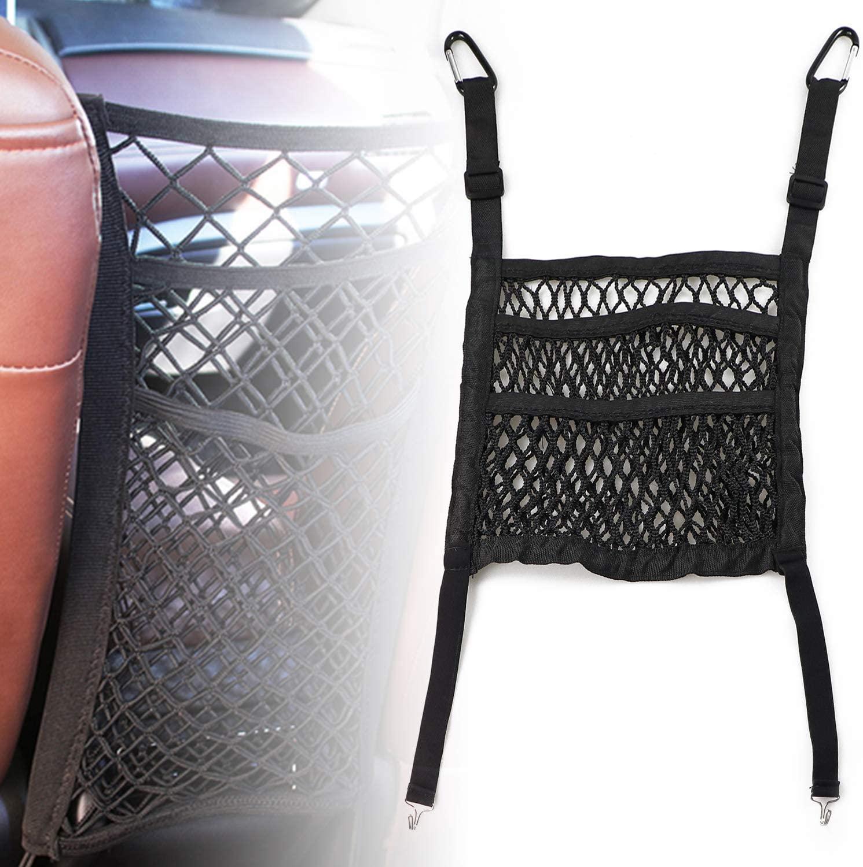 Dibanyou 3-Layer Car Mesh Organizer Seat Back Net Bag Barrier of Backseat Pet Kids Cargo Tissue Purse Holder Driver Storage Netting Pouch