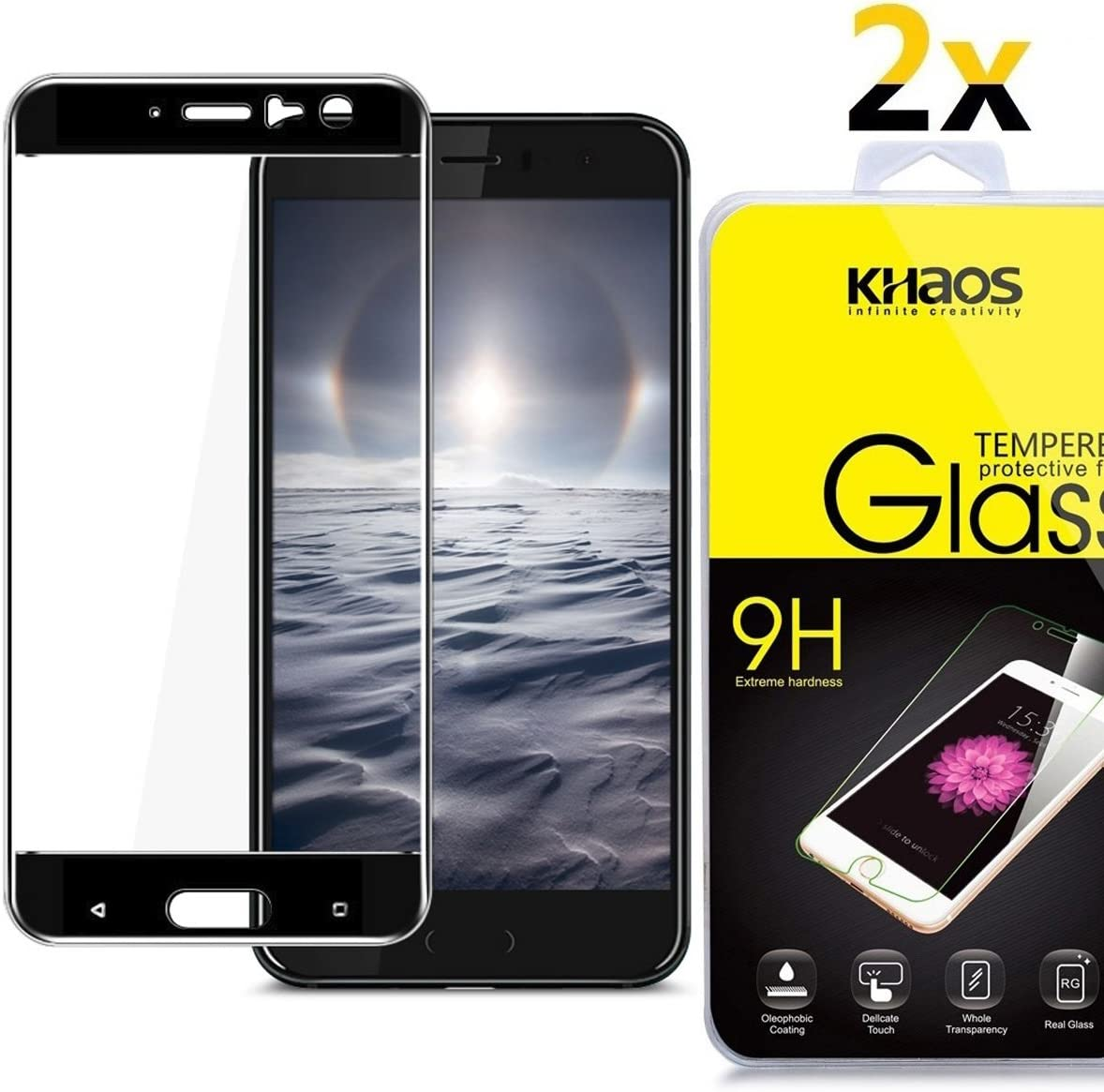 [2 Pack] Khaos for HTC U11 HD Clear Tempered Glass Screen Protector, Full Cover with Lifetime Replacement Warranty -Black