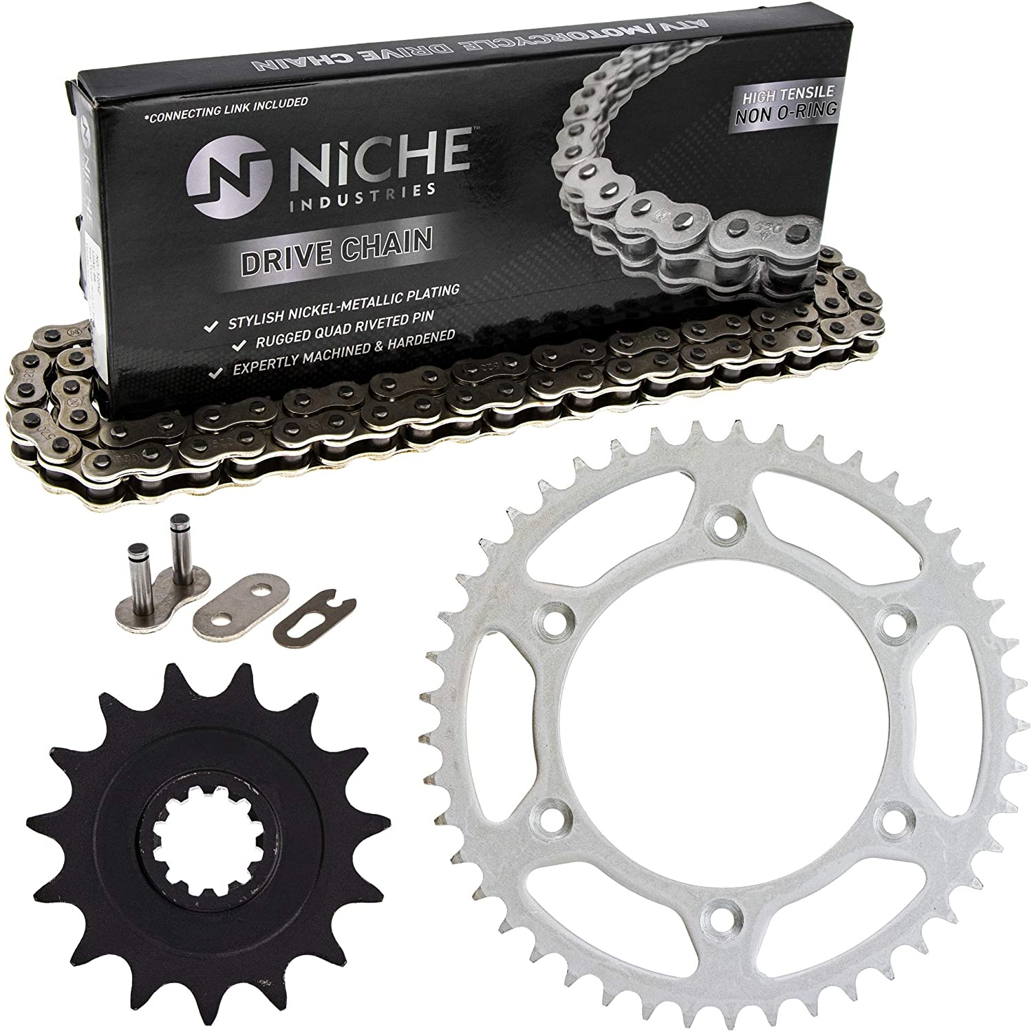 NICHE Drive Sprocket Chain Combo for Husaberg FE650E Front 15 Rear 45 Tooth 520NZ Standard 114 Links