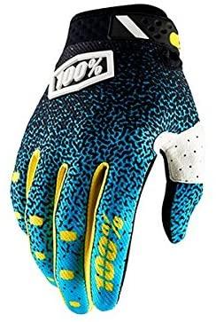 100% Ridefit Mens Off-Road Motorcycle Gloves - Cyan/Black/X-Large