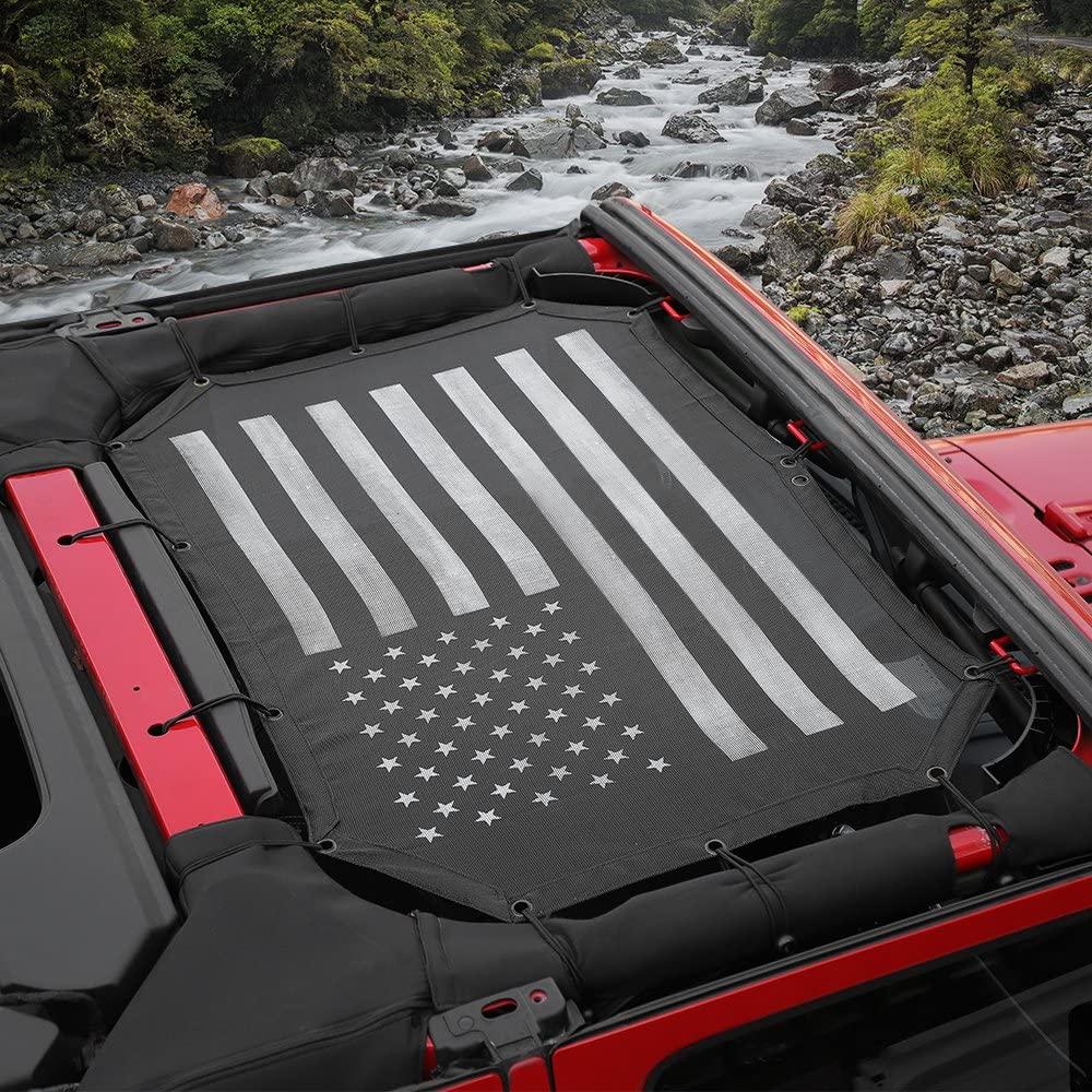 Voodonala US Flag Durable Mesh Sunshade Top Cover Provides UV Sun Protection for 2007-2017 Jeep Wrangler JK JKU-2 Door