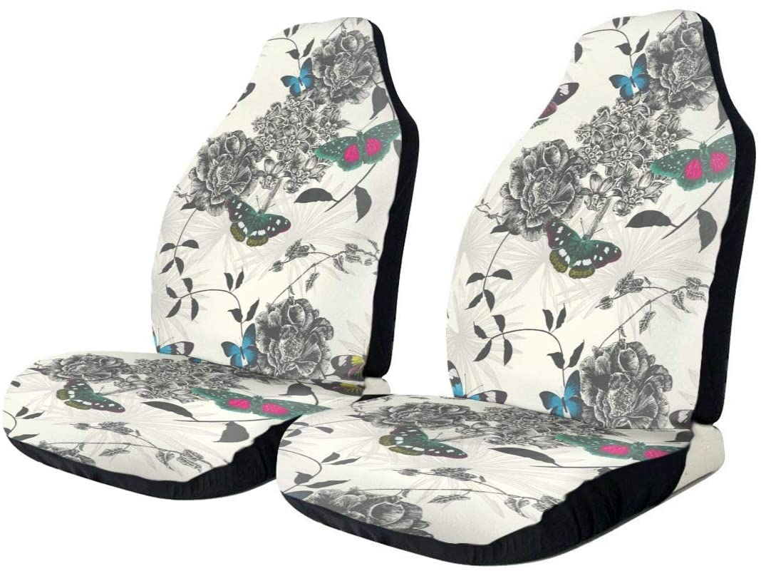 ACHOGI Beautiful Colorful Butterflies 2pc Front Seat Covers for Car, Truck & SUV