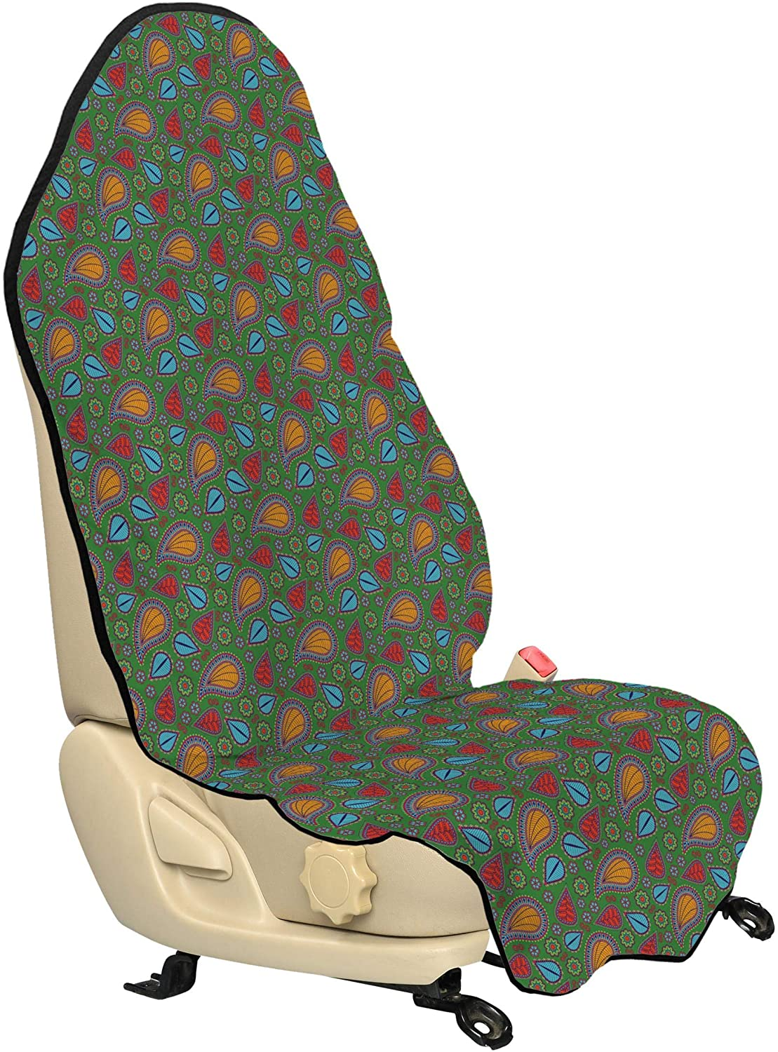 Ambesonne Ethnic Car Seat Hoodie, Image with Swirls Floral Details Paisley Design Fern Green Backdrop, Car Seat Cover Protector Non Slip Backing Universal Fit, 30