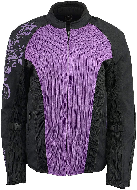 M Boss Motorcycle Apparel BOS22700 Ladies Black and Purple Mesh Jacket with Flower Printing