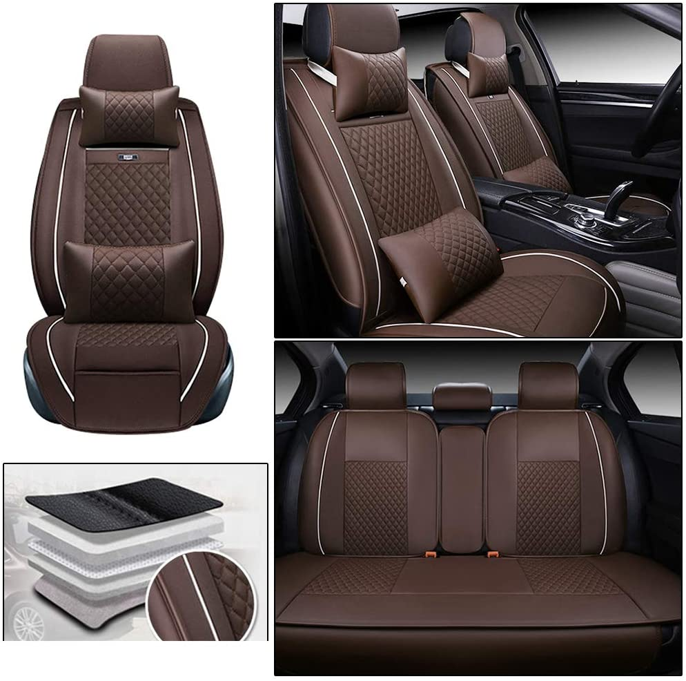 ALLYARD Car Seat Covers for Dodge Avenger RAM 5-Seat Custom PU Leather All Weather Waterproof Protetion Full Set Seat Covers Easy Install Coffee