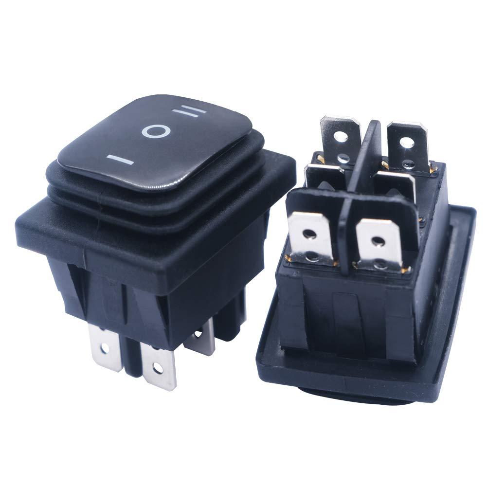 mxuteuk 2pcs Black Waterproof Boat Rocker Switch On/Off/On 3 Position 16A/250V 20A/125V KCD4-203N-BK
