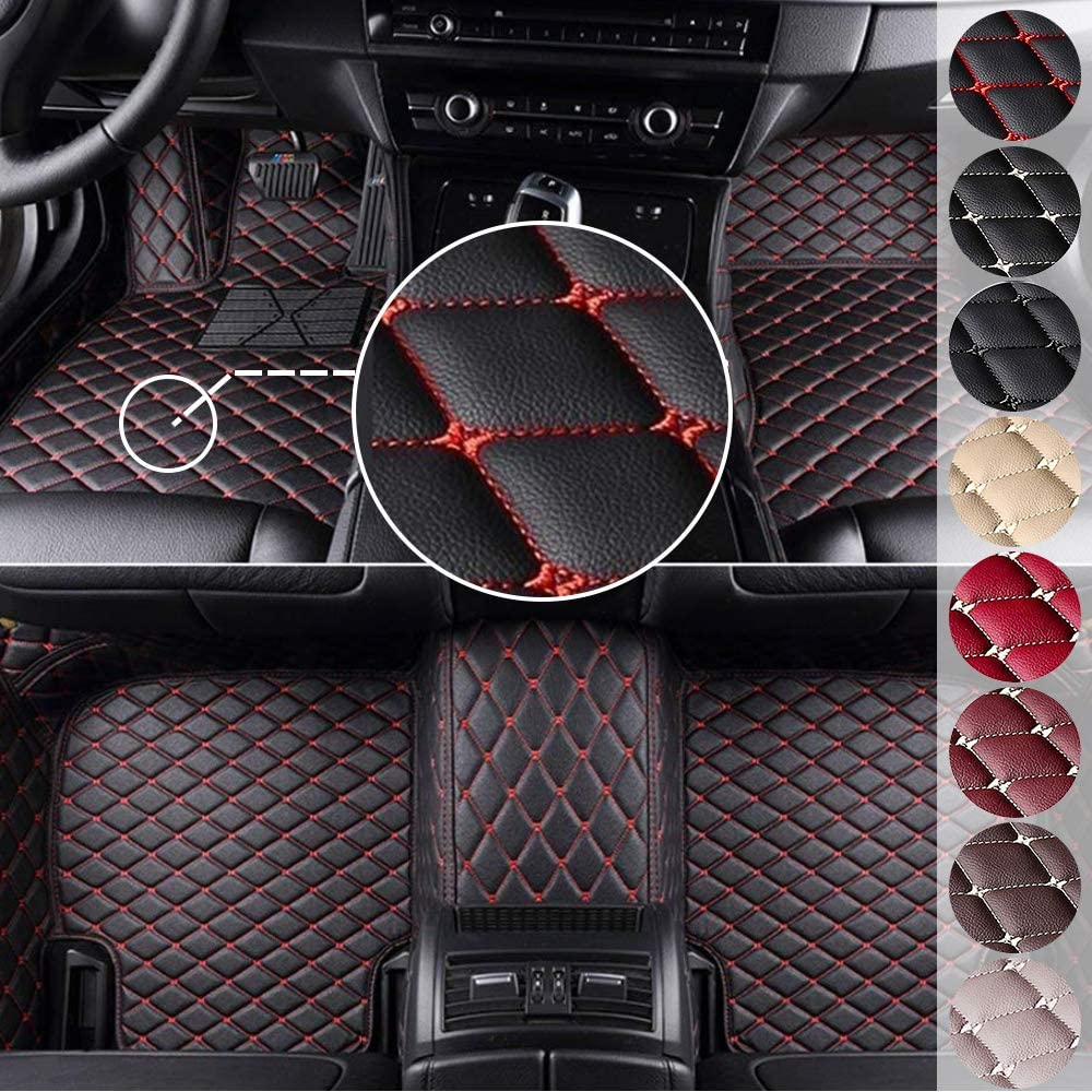 MyGone Custom Fit Car Floor Mats for Honda Accord City Civic CRV CRZ Elysion Fit Jade Jazz Insight Odyssey Pilot Vezel Stream XRV, Leather Floor Liners Waterproof (Black with Red)