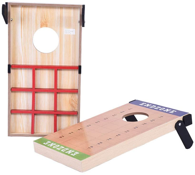 RYGHEWE 2-in-1 Bean Bag Cornhole Toss Combo Outdoor Game - Fun for Kids and Adults - Includes 2 Game Boards, 8 Bean Bags, and Carry Case US Shipping