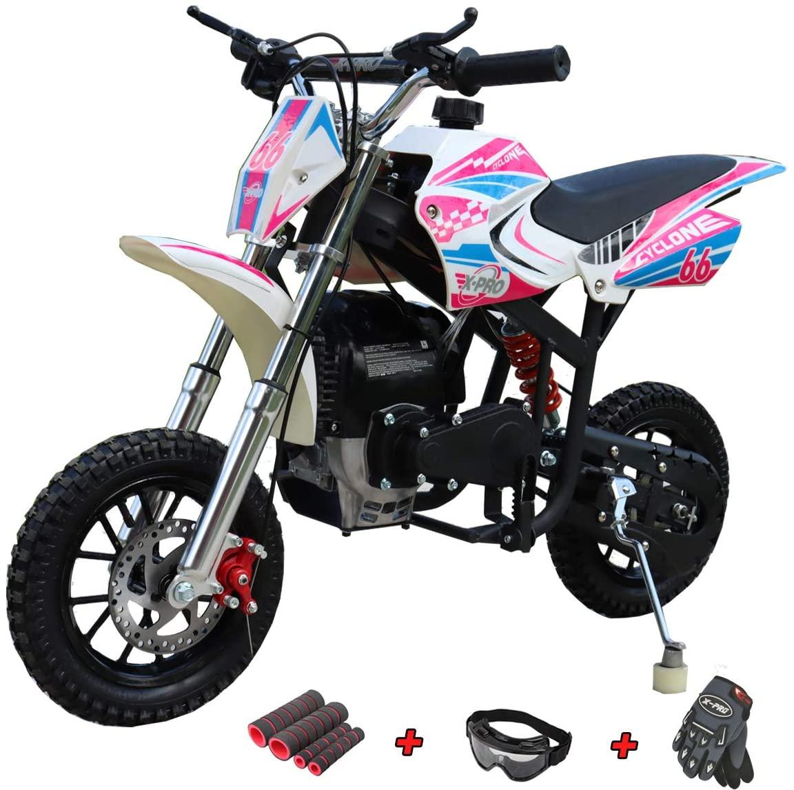 X-PRO Cyclone 40cc Kids Dirt Bike Mini Pit Bike Dirt Bikes Motorcycle Gas Power Bike Off Road (Pink)