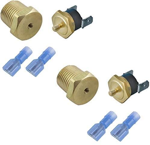 American Volt Electric Engine Fan Power Thermostat Switch Temp Sensor Threaded NPT Brass Probe 2-Pack (1/2