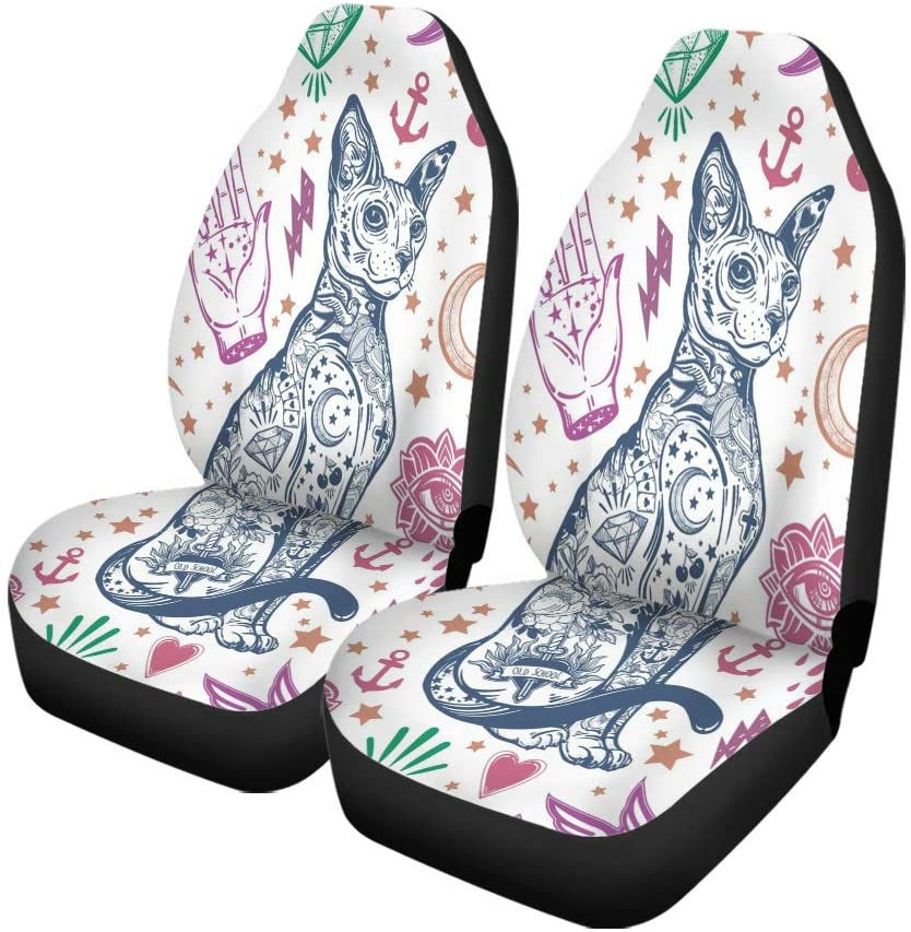Pinbeam Car Seat Covers Vintage Traditional Tattoo Flash Magic Inked Cat Doodle Pattern Set of 2 Auto Accessories Protectors Car Decor Universal Fit for Car Truck SUV