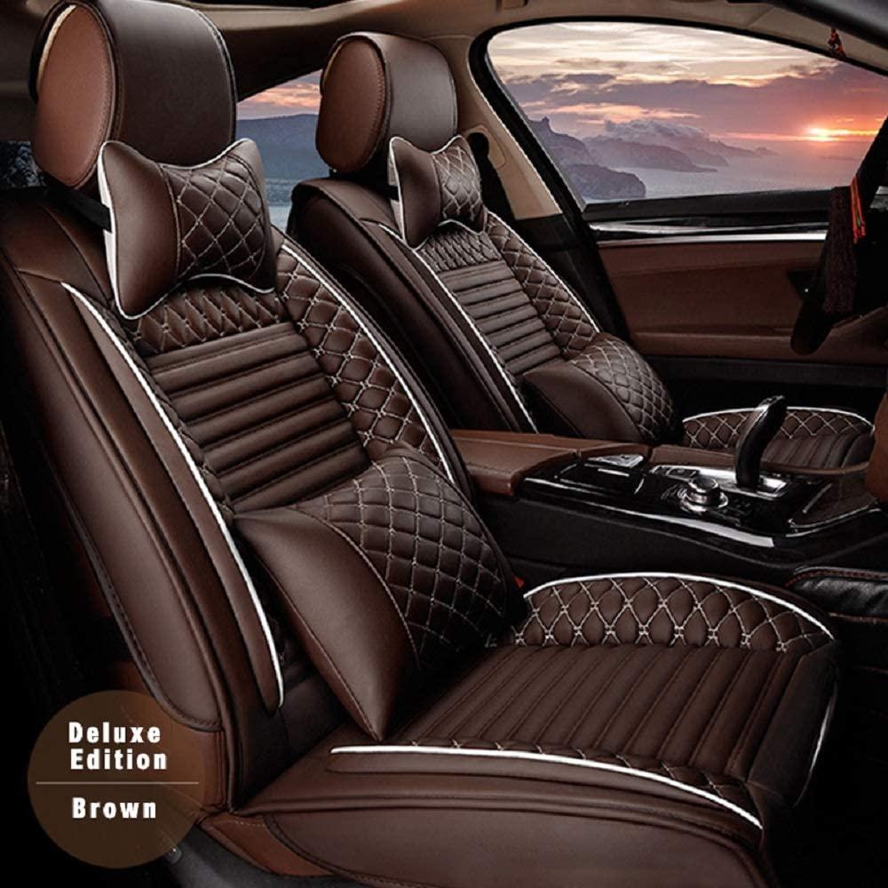 Surekit Custom Car Seat Cover for Peugeot 206 207 307 308 407 408 508 607 3008 4007 4008 5008 RCZ 5-Seat Car Seat Cushion Cover Full Set Needlework PU Leather Luxury Set (Brown)