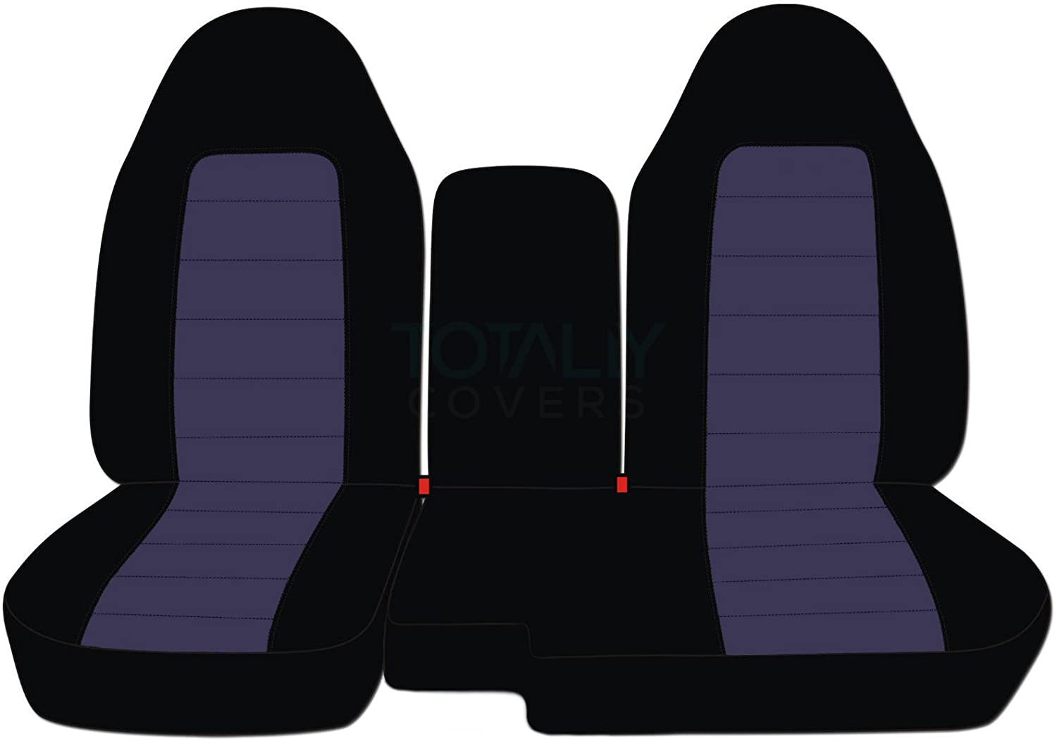 Totally Covers Compatible with 1991-1997 Ford Ranger/Explorer Two-Tone Truck/SUV Seat Covers (60/40 Split Bench) w Center Armrest/Console Cover: Black and Blue Gray (21 Colors)