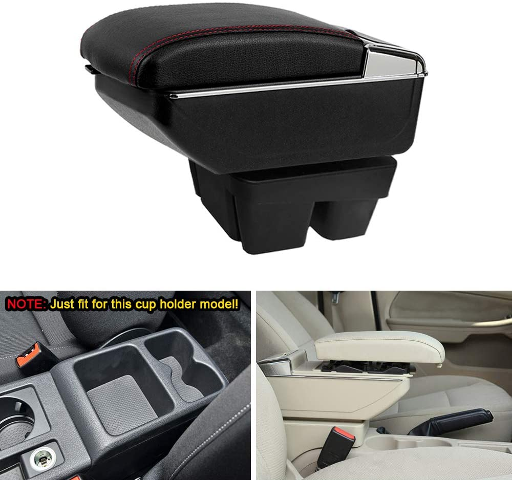 MyGone Center Console Armrest Box for 2013-2017 VW Volkswagen Golf 7, Car Interior Accessories Leather Arm Rest Organizer with LED Lights Adjustable Cup Holder Removable Ashtray Beige