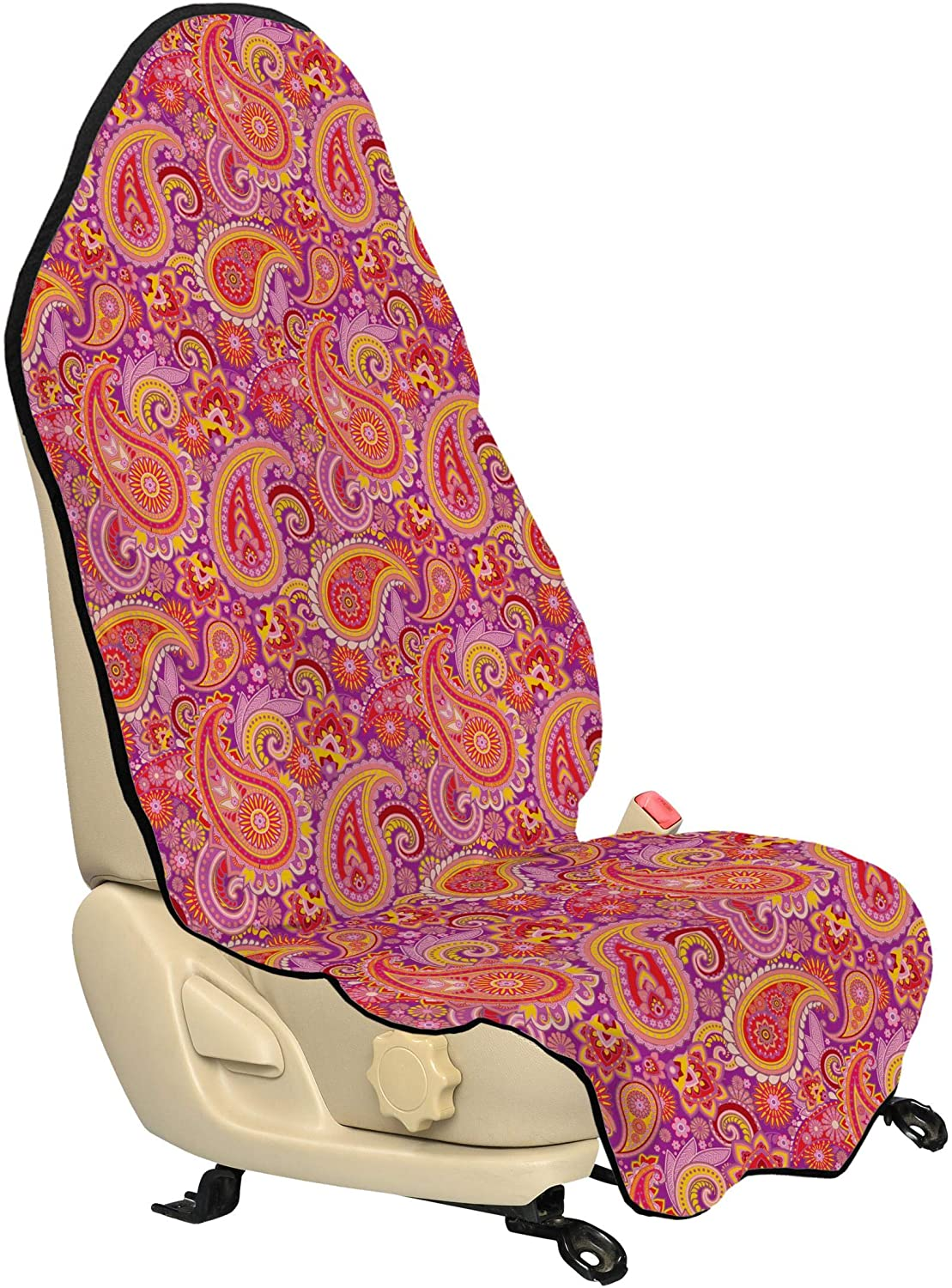Lunarable Paisley Car Seat Hoodie, Design Elements Traditional Floral Vintage Culture Ethnicity, Car Seat Cover Protector Non Slip Backing Universal Fit, 30
