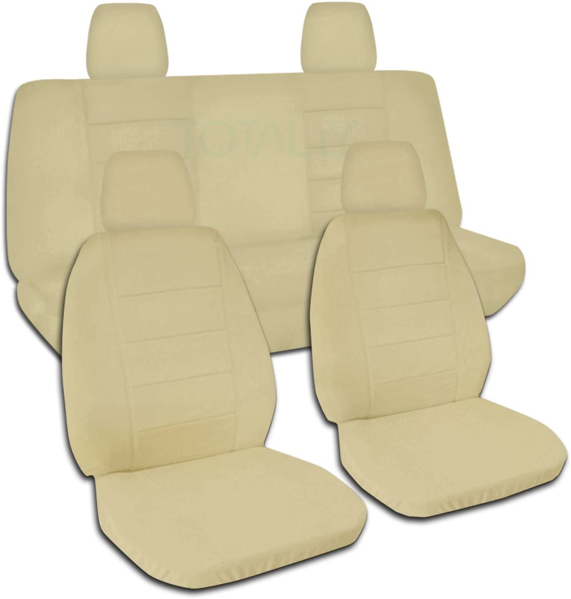 Totally Covers Compatible with 2018-2020 Jeep Wrangler JL Solid Color Seat Covers: Sand - Full Set: Front & Rear (22 Colors) 2-Door/4-Door Solid/Split Bench Back w/wo Armrest/Headrest