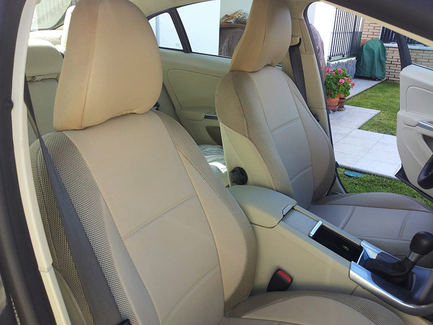 Two Front Car Seat Covers | Leatherette and Synthetic | Custom Fit, Compatible with Volvo C70 2006-2013 | Colour TAN - Beige