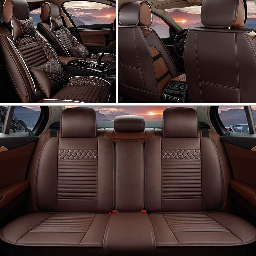 MyGone Car Seat Covers for Volkswagen Passat 2001-2018 Leather Protector, Front + Rear 5 Seat Full Set with Headrest Back Support - Breathable Soft Cushion Waterproof - Universal Brown