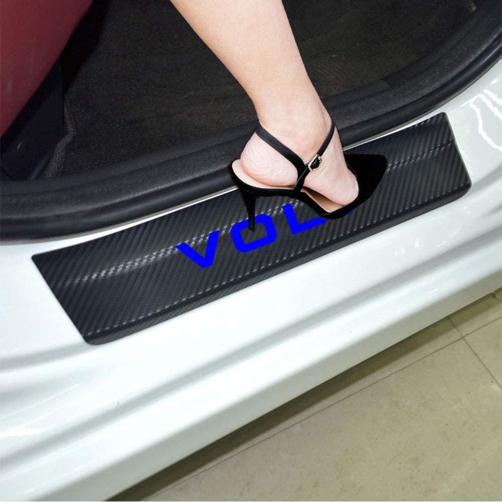 JEYODA 4D Carbon Fiber Car Door Sill Cover Car Door Plate Car Stickers for Chevrolet Volt Door Sill Protector (Blue)