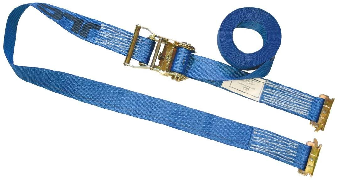 VULCAN Logistic Strap for E Track, Ratchet Style - 20 Foot - Blue - 1,333 Pound Safe Working Load
