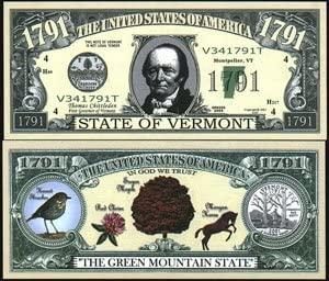 Set of 10 Bills-1791 Vermont State Bill
