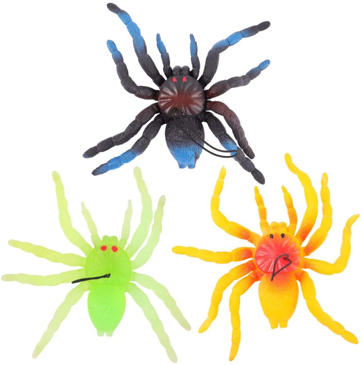 GARNECK 3pcs Halloween Fake Spider Big Plastic Spider Creepy Rubber Spider Cake Topper Costume Party Favors for Tricks Prank Practical Joke Gag (Random Color)