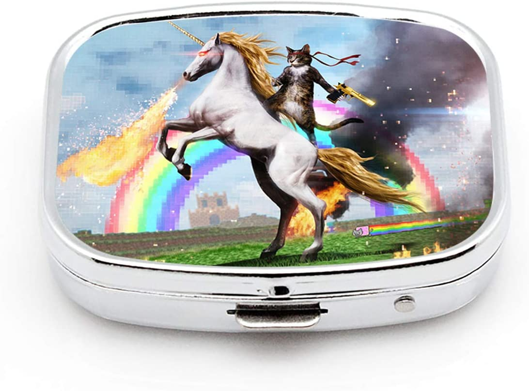 LINARTS Pill Case, Square Pill Box Compact Two Compartment Medicine Tablet Organizer for Purse Pocket Traveling - Cat and Unicorn