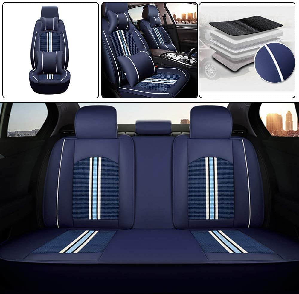 Longzhimei Car Seat Covers for Jeep Liberty 2006 Waterproof Breathable 5 Seats Full Set Front Rear Car Seat Cushion Cover Blue