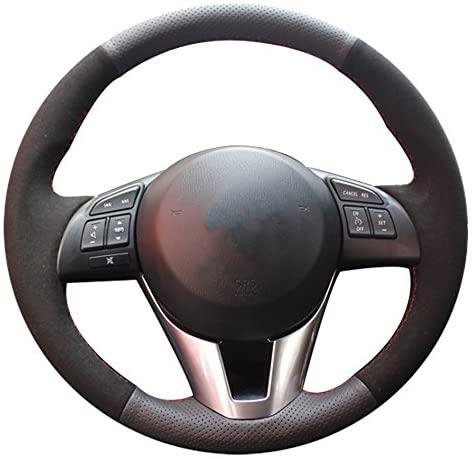 XUJI Hand Sewing Suede Genuine Leather Car Steering Wheel Cover for Mazda 3 Axela 2013-2016 Mazda 6 Atenza 2014-2017 Mazda 2 2015-2017(Black Leather+Black Suede)
