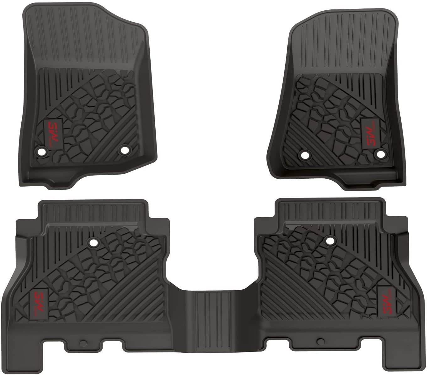 3W Floor Mats for Jeep Wrangler JL 2018 2019 2020 2021- Heavy Duty Custom Fit Floor Liners All Weather Odorless TPE Car Floor Mats 1st & 2nd Row for JL Limited 4 Doors (Not for JK), Black