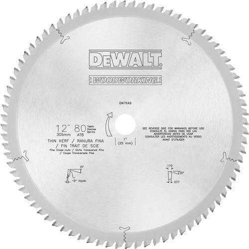DEWALT DW7649 80T Fine Crosscut Blade, 12-Inch