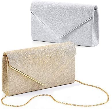 AVENUE 9 Sparkling Clutch Crossbody Evening Bag for Women - Gold, Silver