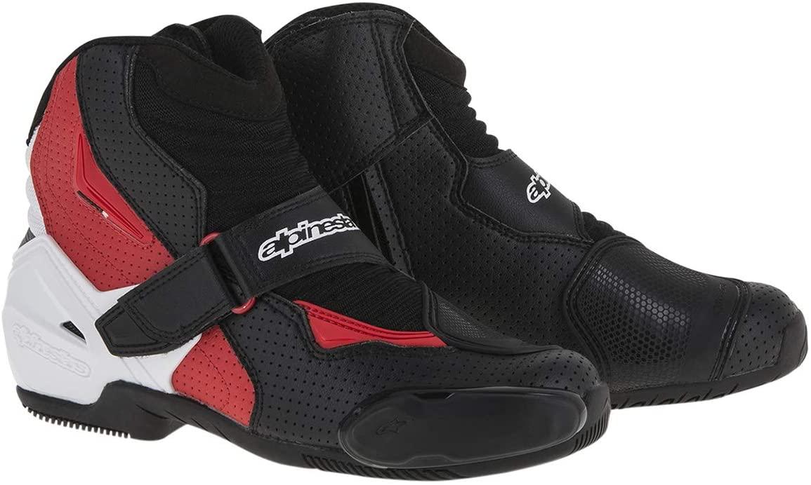 Alpinestars Men's SMX-1 R Vented Street Motorcycle Boot, Black/White/Red, 42